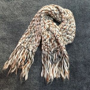 crochet white brown and gray scarf